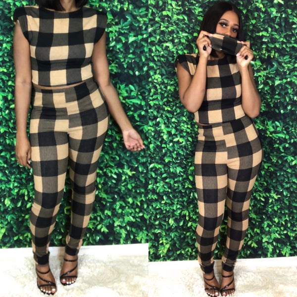 Plaid Pant Set