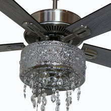 "Load image into Gallery viewer, 52"" Leonie 5 - Blade LED Crystal Ceiling Fan with Pull Chain and Light Kit Included"