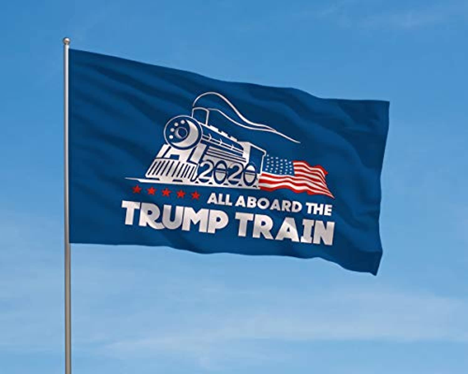 Trump Flag Train Donald Trump Flags Support for President 2020 Banner - All Aboard The Trump Train 3 x 5 feet with Two Brass Grommets