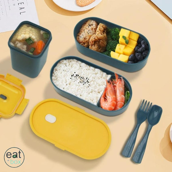 Bento Lunch Box Double Couche Bleu