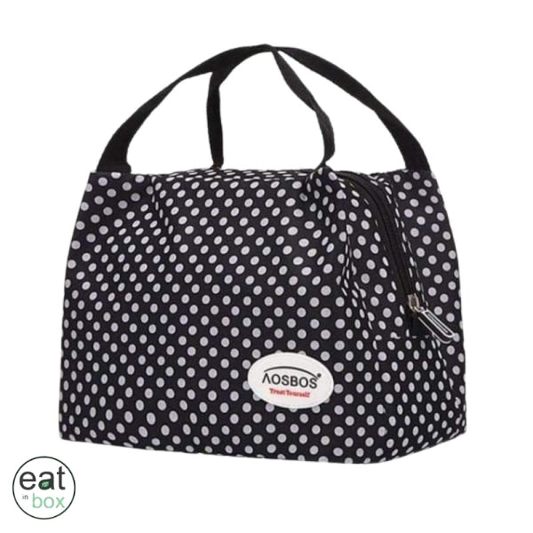 Lunch Bag Isotherme Noir a Pois