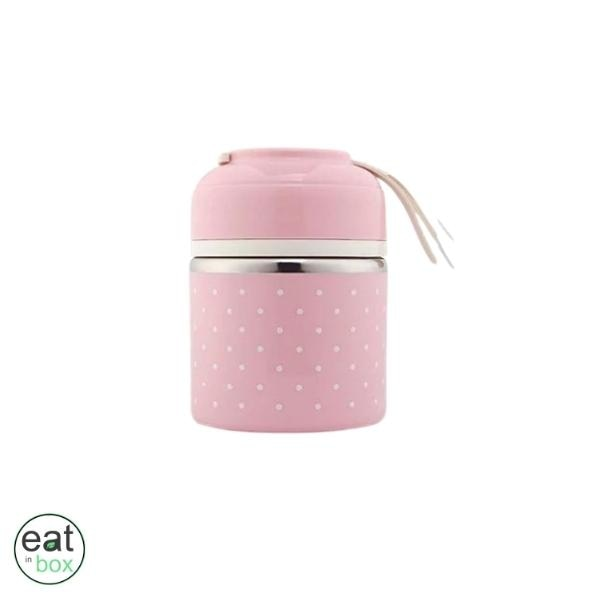 Lunch Box Isotherme Inox Tiffin Indienne Rose - 1 compartiment