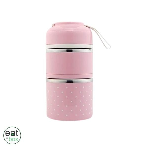 Lunch Box Isotherme Inox Tiffin Indienne Rose - 2 compartiments