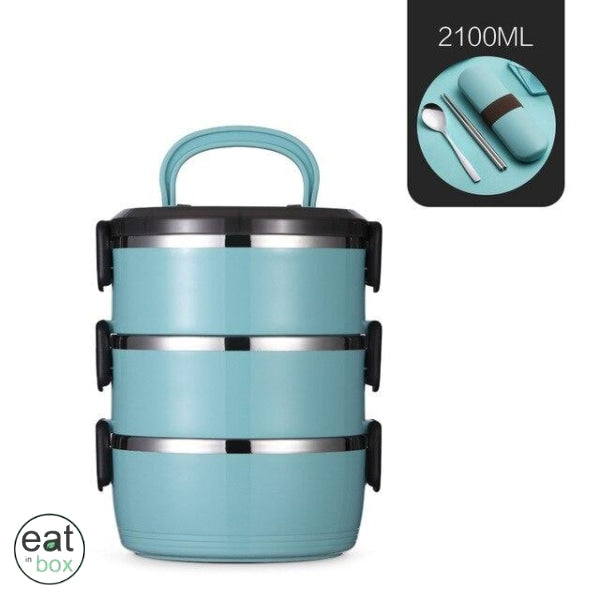 Lunch Box Isotherme Inox XXL Bleu - 3 couches