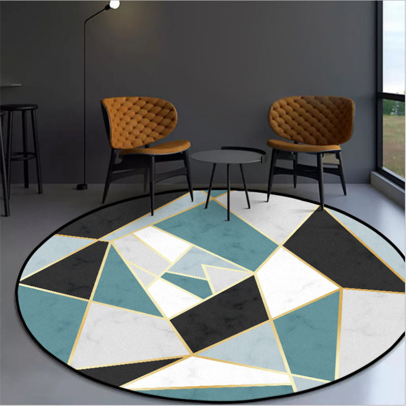 Blue Black Irregular Round Carpet