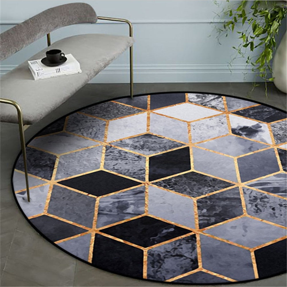 Black Gold Square Round Carpet