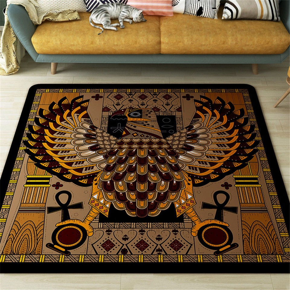 Brown Eagle Square Carpet Rug