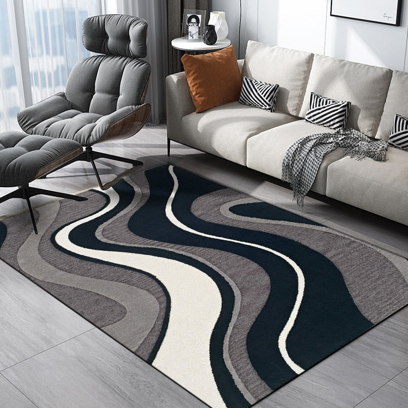 Black Grey Stripe Rug