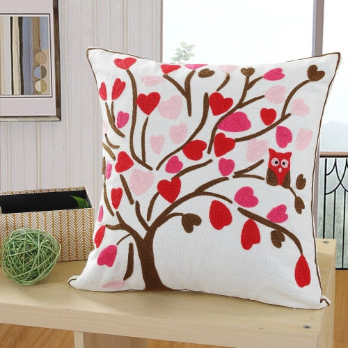 Tree Embroidery  Cushions Case