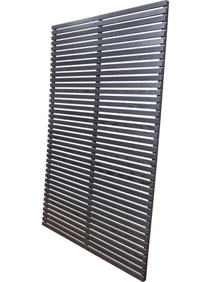 Horizontal slatted fence panels in black wood composite by Screen With Envy