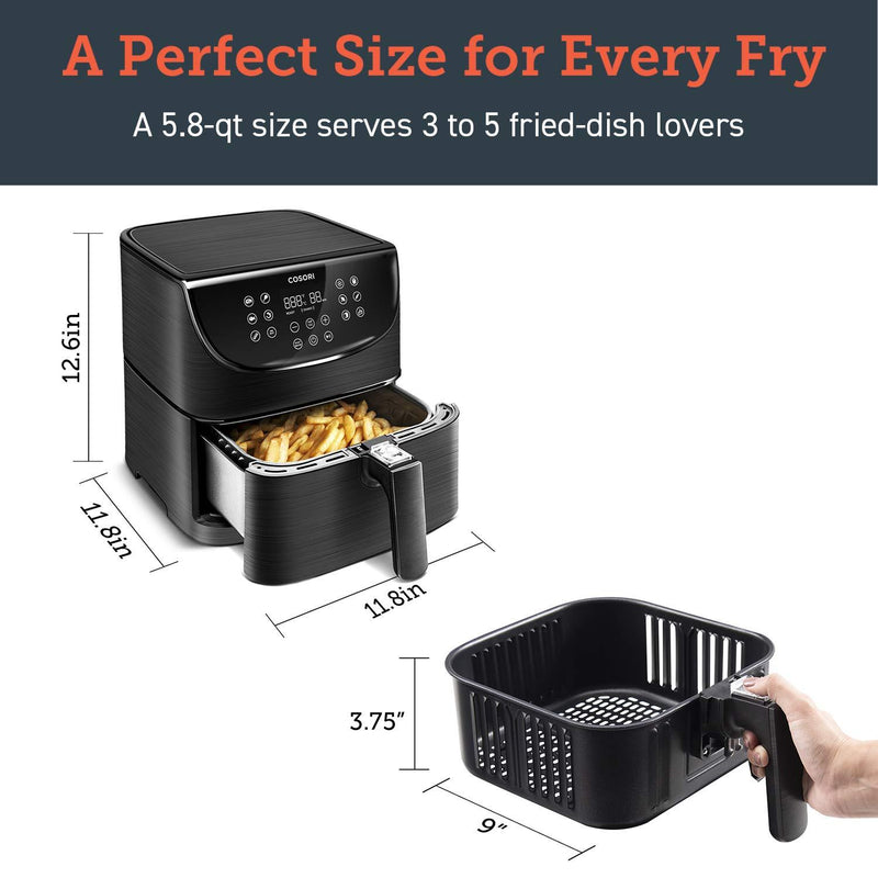 Cosori 5.5Ltr Premium Air Fryer CP158 Black - Air Fryers - GardeniaHomecentre