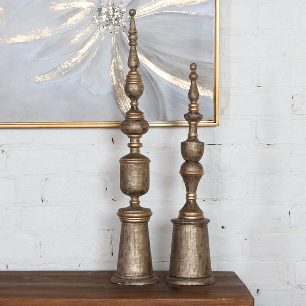Uttermost Nalini Antique Gold Finials S/2