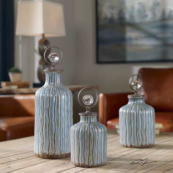 Uttermost Mathias Grey-Blue Vessels, S/3