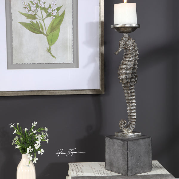 Uttermost Seahorse Silver Candleholder