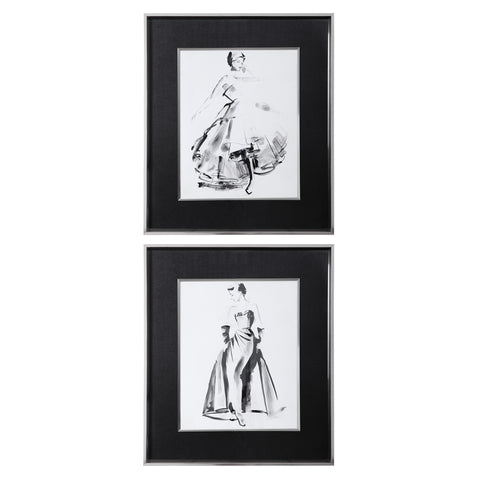 Uttermost Vintage Costume Sketch Framed Prints, S/2