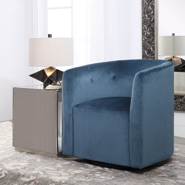 Uttermost Mallorie Blue Swivel Chair