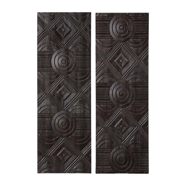 Uttermost Asuka Carved Wood Wall Panels, Set/2