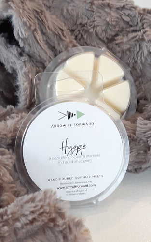 HYGGE Soy Wax Melts a cozy blend of warm blankets and quiet afternoons made by Arrow It Forward Gan. Ont
