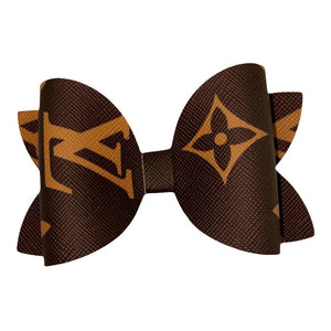 Load image into Gallery viewer, Leather LV Hair Bow