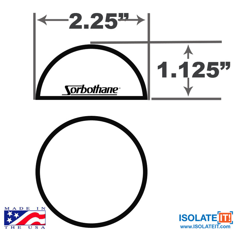 "2.25"" Dia Sorbothane Hemisphere Rubber Bumper Non-Skid Feet with Adhesive"