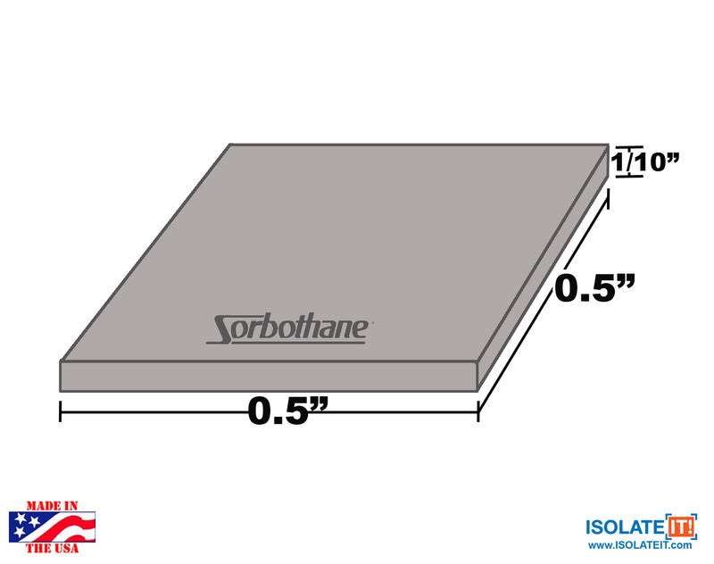 "Sorbothane Vibration Isolation Square Pad 1-2"" x 1-2"" - 36 Pack"