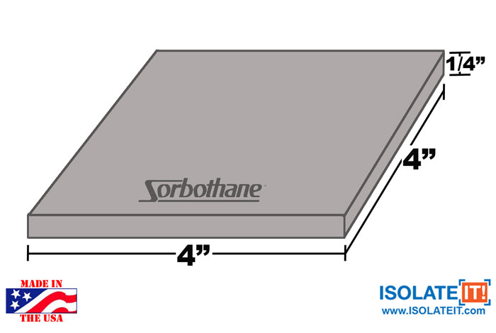 "Sorbothane Vibration Isolation Square Pad 4"" x 4"" - 2 Pack"