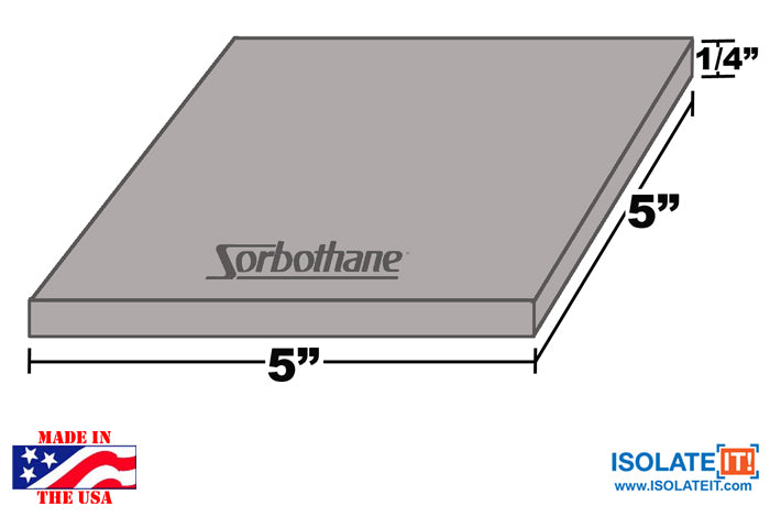 "Sorbothane Acoustic and Vibration Isolation Square 6"" x 6"" Pads"