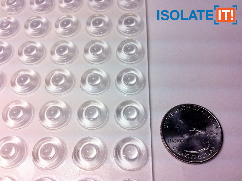 "Small Round Flat Clear 12.7mm (0.500"") (Dia) x 3.5mm (0.138"") (H) Cabinet and Furniture Bumpers"