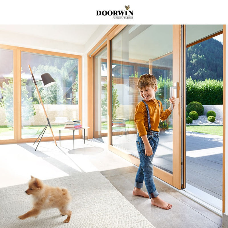 Doorwin 2021Australian Standards Latest Design Double Glazed Windows Glass Solid Oak Wooden Lift And Sliding Doors With Germany Hardware