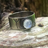 silver rune ring with rainbow moonstone