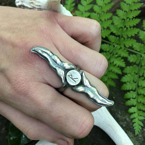 Long Leaf Rune Ring - Choose your Rune - Fine and Sterling Silver
