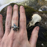 Viking Raven Ring - Fine Silver