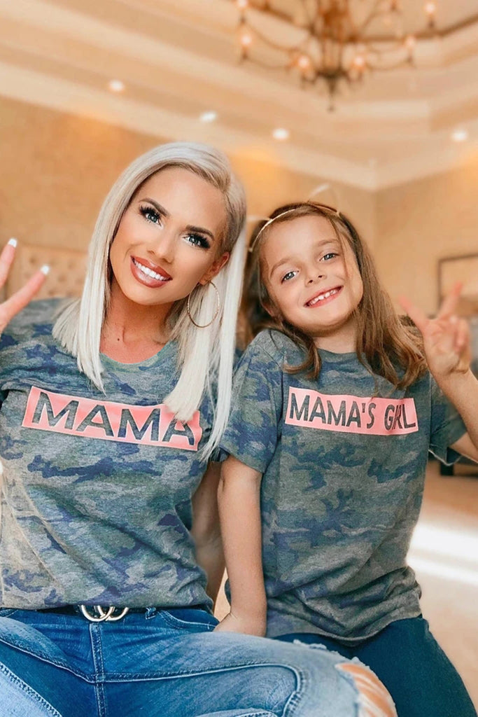 MAMA Camo Print T-shirt Summer Short Sleeve Tee Top