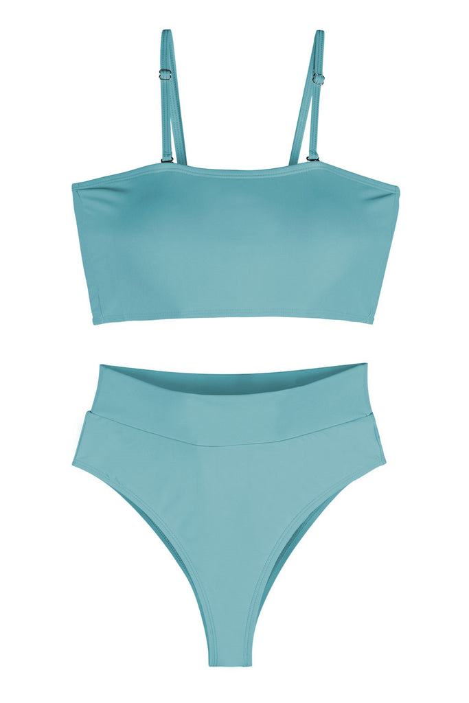 Sexy Bandeau High Waisted Bikini Bottoms Set Two Piece Swimsuits Blue