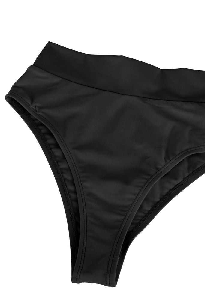 Sexy Bandeau High Waisted Bikini Bottoms Set Two Piece Swimsuits Black