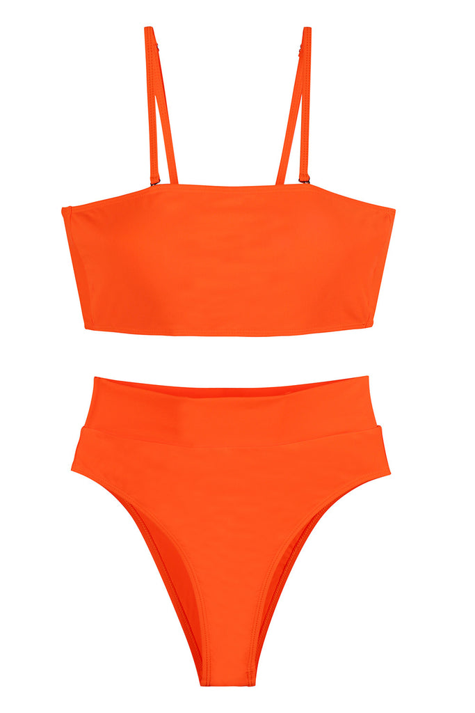 Womens Sexy Plain Bandeau Top&High Waist Bottom Bikini Set Orange