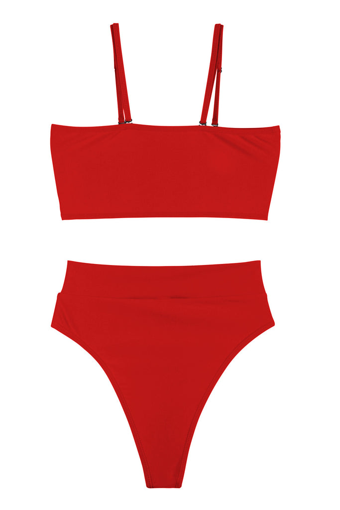 Sexy Bandeau High Waisted Bikini Bottoms Set Two Piece Swimsuits Red