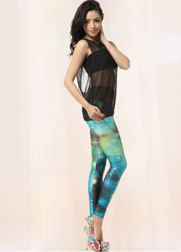 Cloud Faded Light Year Teal Galaxy Leggings