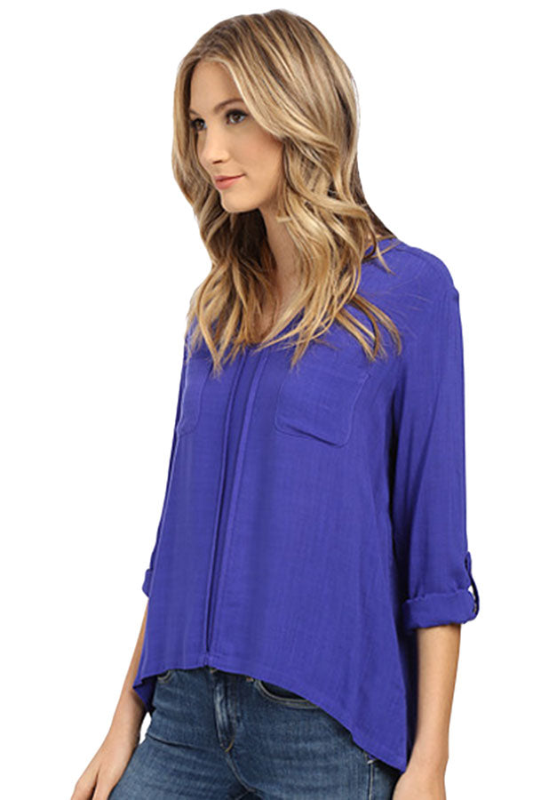 Womens Plain Linen 3/4 Length Sleeve High Low Blouse Blue
