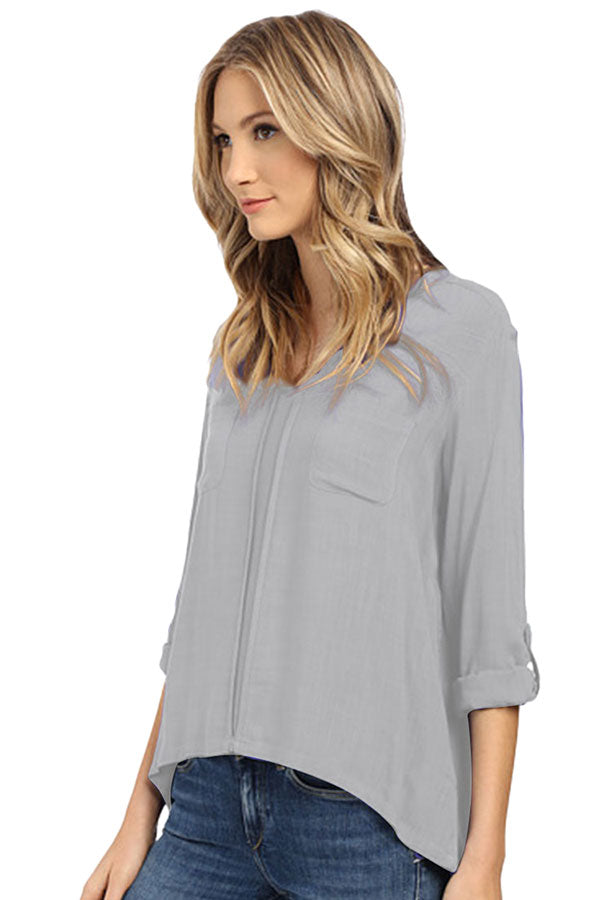 Womens Plain Linen 3/4 Length Sleeve High Low Blouse Gray