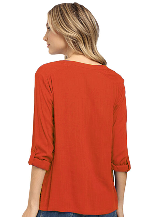 Womens Plain Linen 3/4 Length Sleeve High Low Blouse Red