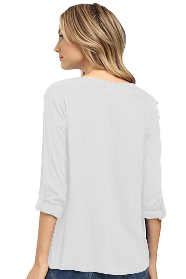 Womens Plain Linen 3/4 Length Sleeve High Low Blouse White