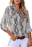 Snakeskin Print 3/4 Sleeve Button Front Blouse With Pocket Grey