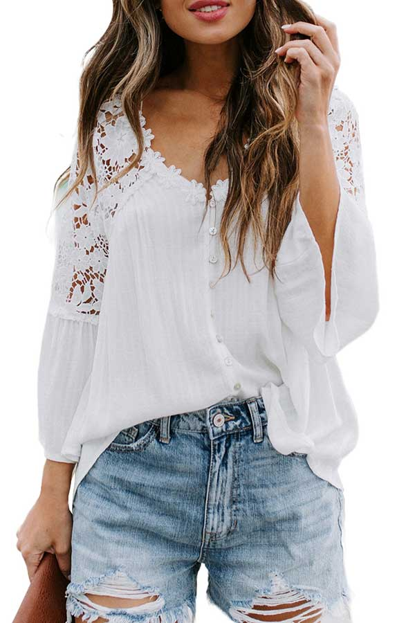 V Neck 3/4 Sleeve Floral Lace Button Blouse White