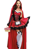 Sexy Off Shoulder Cloak Halloween Little Red Riding Hood Costume Red