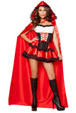 Womens Corset Little Red Riding Hood Halloween Princess Costume Red