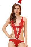 Womens Adult Deep V Backless Bowknot Jumpsuit Christmas Lingerie Red
