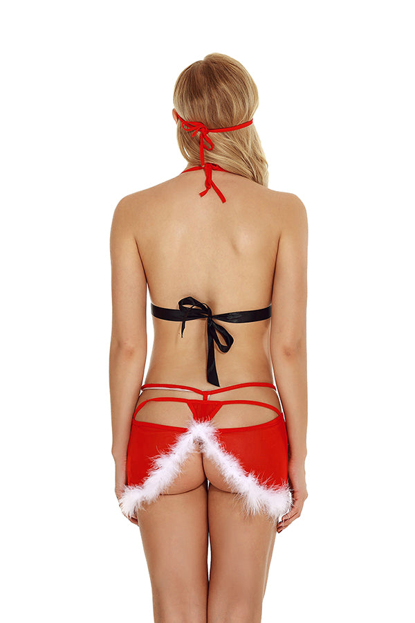 Womens Sexy Halter Sheer Backless Christmas Santa Lingerie Red