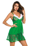V Neck Babydoll Lace Sheer Lingerie Sleepwear Green