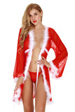 Womens V-Neck Lace Up Fur Babydoll Christmas Santa Lingerie Set Red